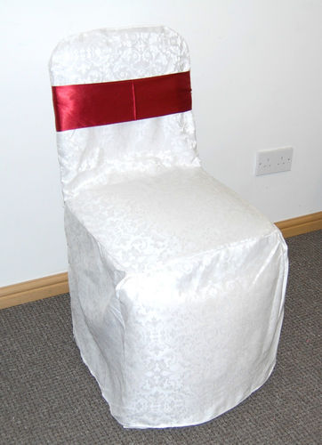 Banquet chair with white chair cover and bow